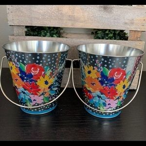 2 new Pioneer Woman Floral tin pails